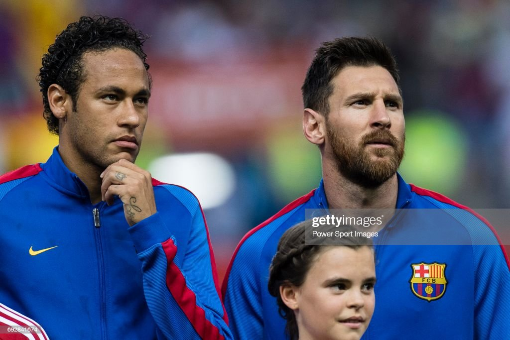 Neymar da Silva Santos Junior of FC Barcelona (L) and Lionel Andres Messi of FC Barcelona (R) during the Copa Del Rey Final between FC Barcelona and Deportivo Alaves at Vicente Calderon Stadium on May 27, 2017 in Madrid, Spain.