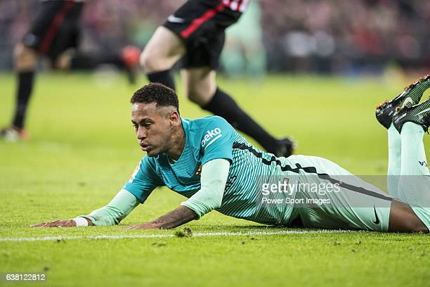 Neymar da Silva Santos Junior of FC Barcelona falls during their Copa del Rey Round of 16 first leg match between Athletic Club and FC Barcelona at...