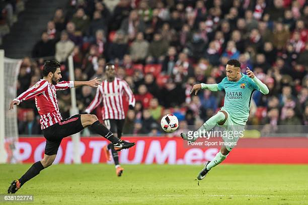 Neymar da Silva Santos Junior of FC Barcelona fights for the ball with Eneko Boveda Altube of Athletic Club during their Copa del Rey Round of 16...