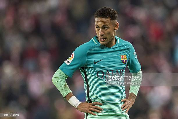 Neymar da Silva Santos Junior of FC Barcelona reacts during their Copa del Rey Round of 16 first leg match between Athletic Club and FC Barcelona at...