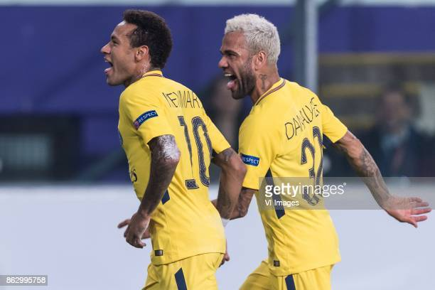 Neymar da Silva Santos Junior of Paris SaintGermain Daniel Alves da Silva of Paris SaintGermain during the UEFA Champions League group B match...