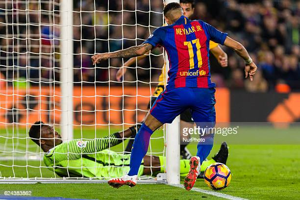 Neymar during the match between FC Barcelona vs Malaga CF for the round 12 of the Liga Santander played at Camp Nou Stadium on 19th November 2016 in...