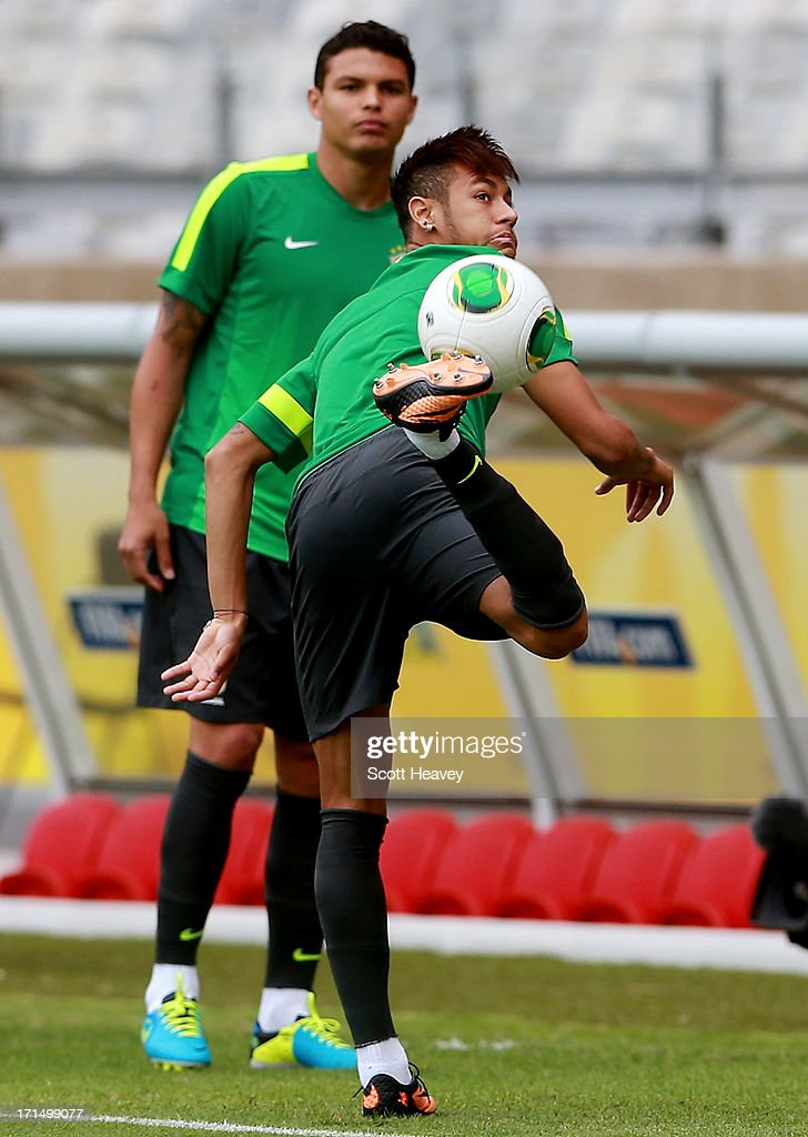 Neymar in action during a Brazil training session ahead of their FIFA Confederations Cup 2013 Semi Final match against Uruguay on June 25, 2013 in Belo Horizonte, Brazil.