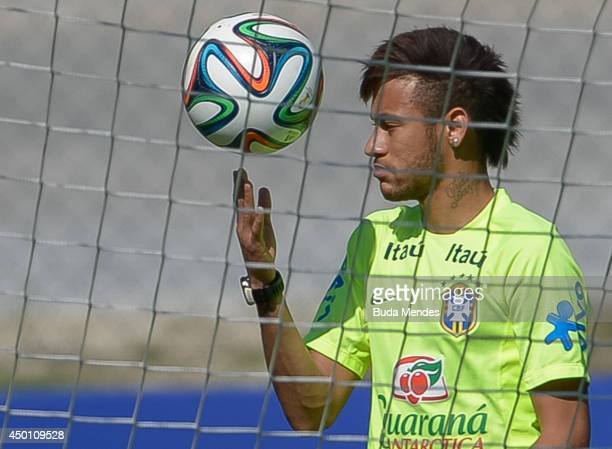 Neymar in action during a training session of the Brazilian national football team at the squad's Granja Comary training complex in Teresopolis 90 km...
