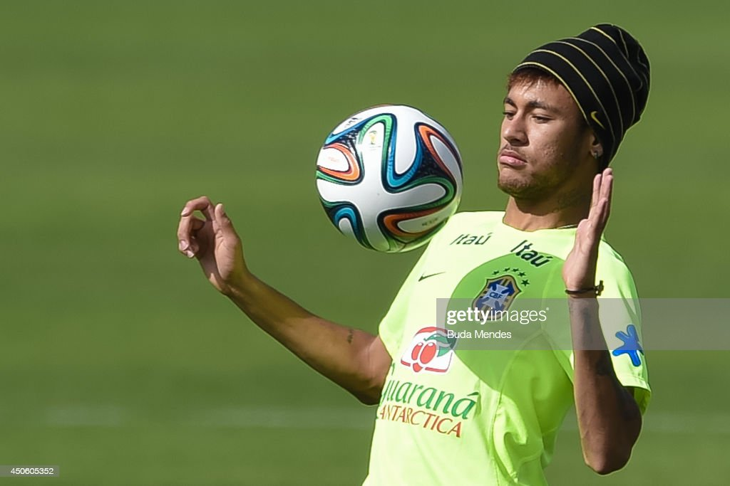 Neymar in action during a training session of the Brazilian national football team at the squad's Granja Comary training complex, on June 14, 2014 in Teresopolis, 90 km from downtown Rio de Janeiro, Brazil.