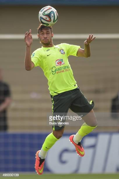 Neymar in action during a training session of the Brazilian national football team at the Serra Dourada Stadium on June 02 2014 in Goiania Brazil