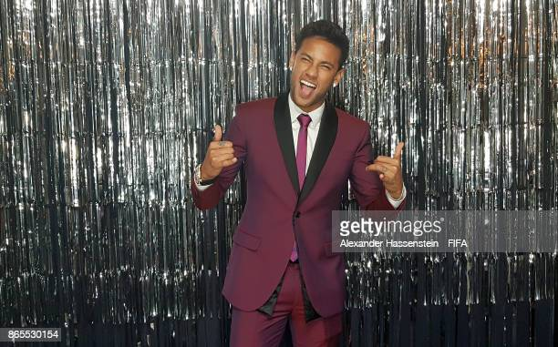 Neymar is pictured inside the photo booth prior to The Best FIFA Football Awards at The London Palladium on October 23 2017 in London England
