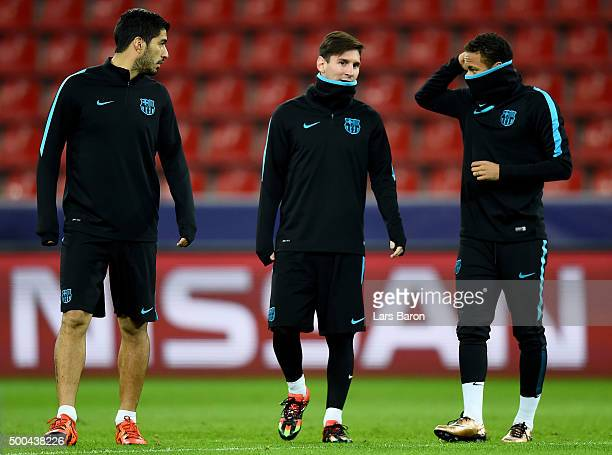 Neymar is seen with Luis Suarez and Lionel Messi during a FC Barcelona training session on the eve of the UEFA Champions League groupe E match...