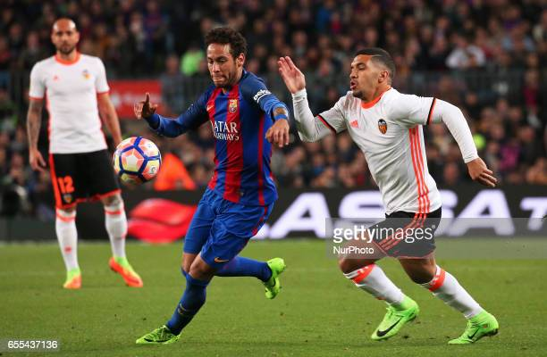 Neymar Jr and Bakkali during La Liga match between FC Barcelona v Valencia CF in Barcelona on march 19 2017