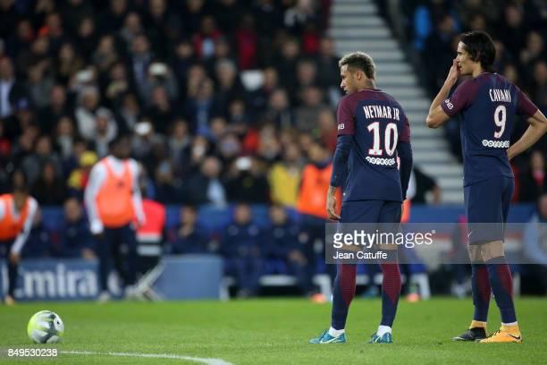 Neymar Jr and Edinson Cavani of PSG during the French Ligue 1 match between Paris Saint Germain and Olympique Lyonnais at Parc des Princes on...