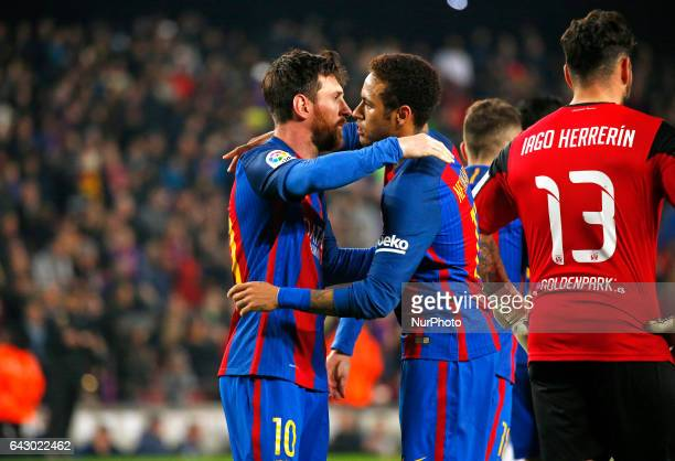 Neymar Jr and Leo Messi celebration during La Liga match between FC Barcelona v CD Leganes in Barcelona on February 19 2017