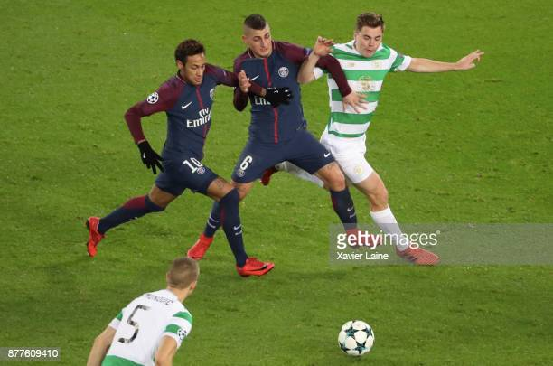 Neymar Jr and Marco Verratti of Paris SaintGermain in action with James Forrest of Celtic Glasgow during the UEFA Champions League group B match...