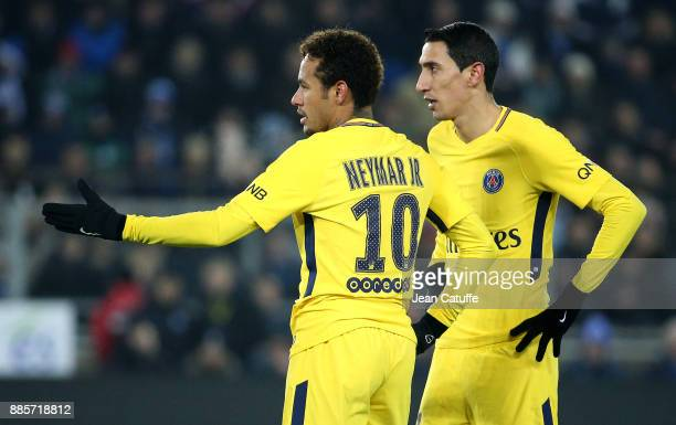 Neymar Jr Angel Di Maria of PSG during the French Ligue 1 match between RC Strasbourg Alsace and Paris Saint Germain at Stade de la Meinau on...