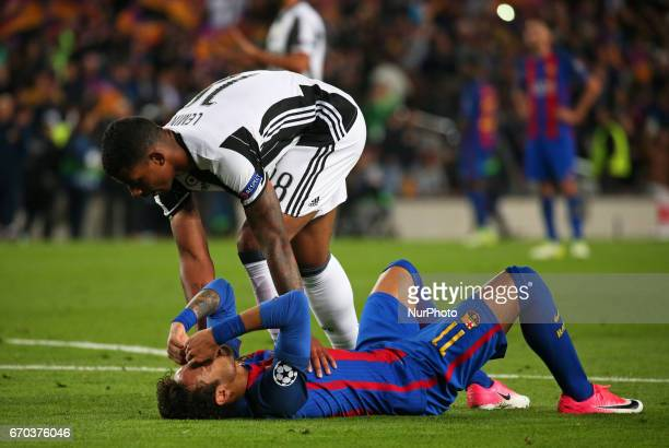 Neymar Jr crying comforted by Mario Lemina at the end of the UEFA Champions League match between FC Barcelona v Juventus in Barcelona on April 19 2017