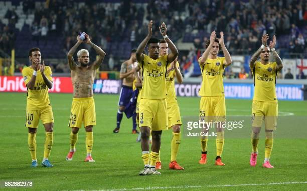 Neymar Jr Dani Alves aka Daniel Alves Presnel Kimpembe Julian Draxler Adrien Rabiot Layvin Kursawa of PSG salute the fans and celebrate the victory...