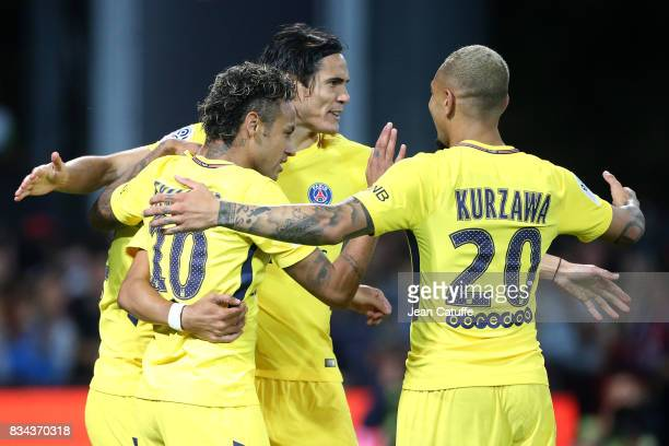 Neymar Jr Edinson Cavani Layvin Kursawa of PSG celebrate the first goal during the French Ligue 1 match between En Avant Guingamp and Paris Saint...