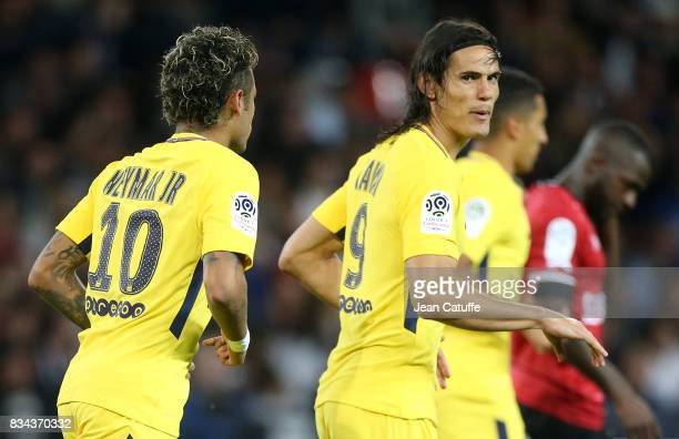 Neymar Jr Edinson Cavani of PSG celebrate the first goal during the French Ligue 1 match between En Avant Guingamp and Paris Saint Germain at Stade...