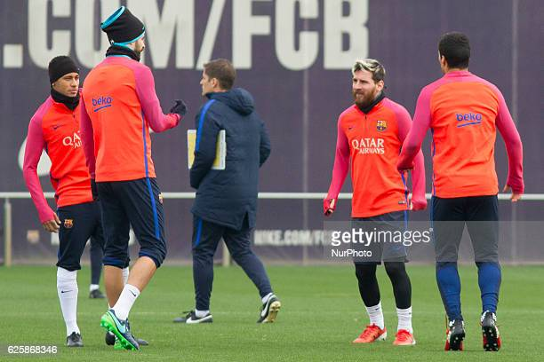 Neymar Jr Gerard Piqué Leo Messi and Luis Suarez during the FC Barcelona's training session before the match agasint Real Sociedad on November 26 in...