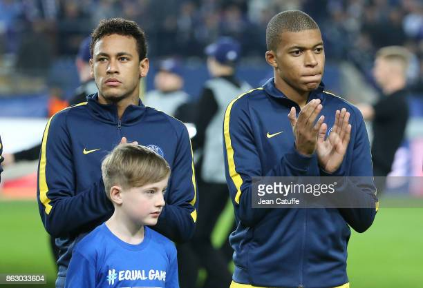 Neymar Jr Kylian Mbappe of PSG during the UEFA Champions League match between RSC Anderlecht and Paris Saint Germain at Constant Vanden Stock Stadium...