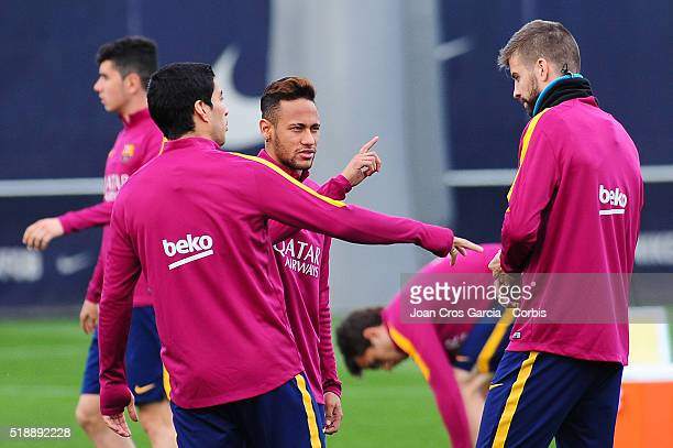 Neymar Jr Luis Suarez and Gerard Pique attend an FCBarcelona training session on April 1 2016 in Barcelona Spain
