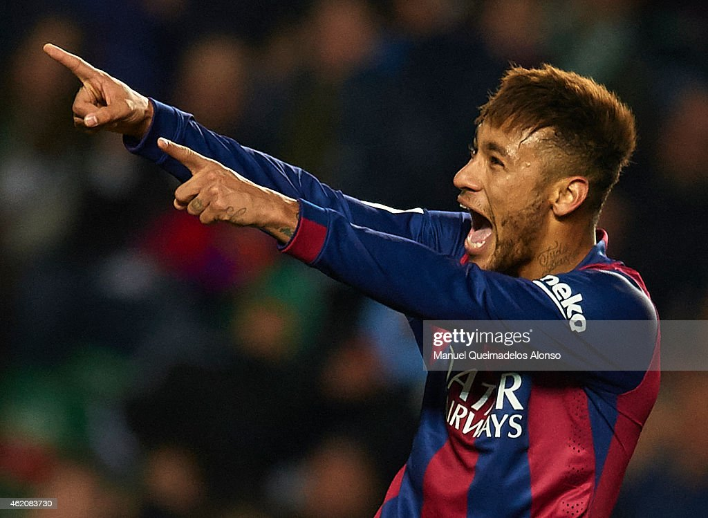 Neymar JR of Barcelona celebrates after scoring during the La Liga match between Elche FC and FC Barcelona at Estadio Manuel Martinez Valero on January 24, 2015 in Elche, Spain.