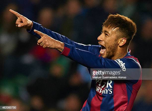 Neymar JR of Barcelona celebrates after scoring during the La Liga match between Elche FC and FC Barcelona at Estadio Manuel Martinez Valero on...