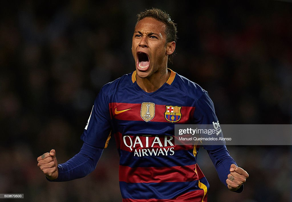 Neymar JR of Barcelona celebrates scoring his team's fourth goal during the Copa del Rey Round of 16 match between FC Barcelona and Real CD Espanyol at Camp Nou on January 6, 2016 in Barcelona, Spain.
