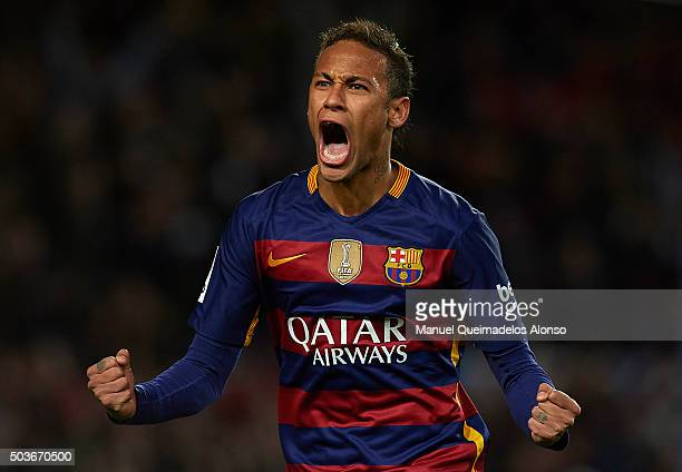 Neymar JR of Barcelona celebrates scoring his team's fourth goal during the Copa del Rey Round of 16 match between FC Barcelona and Real CD Espanyol...