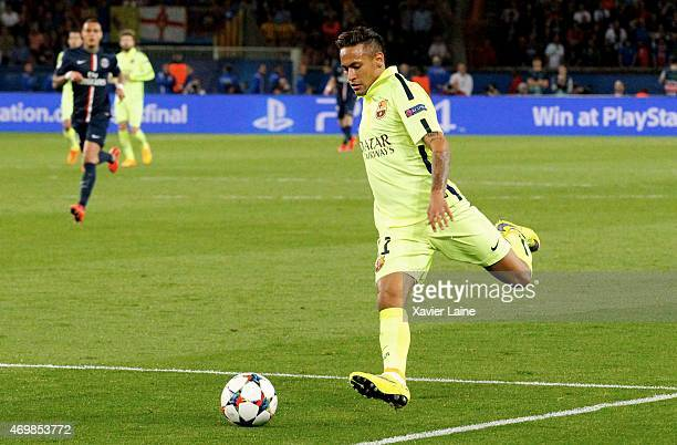 Neymar jr of Barcelona FC during the UEFA Champions League Quarter Final First leg between Paris SaintGermain and Barcelona FC at Parc Des Princes on...