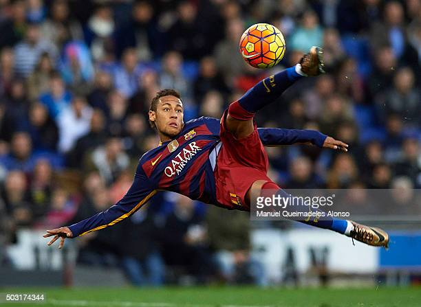 Neymar JR of Barcelona in action during the La Liga match between Real CD Espanyol and FC Barcelona at CornellaEl Prat Stadium on January 2 2016 in...