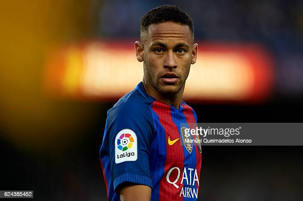 Neymar JR of Barcelona looks on during the La Liga match between FC Barcelona and Malaga CF at Camp Nou stadium on November 19 2016 in Barcelona Spain