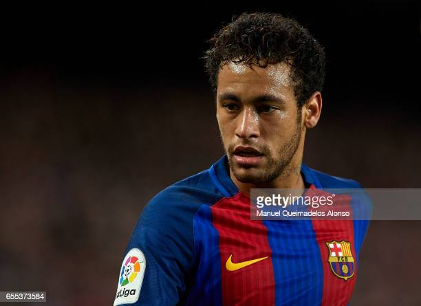 Neymar JR of Barcelona looks on during the La Liga match between FC Barcelona and Valencia CF at Camp Nou Stadium on March 19 2017 in Barcelona Spain