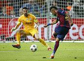 Neymar Jr of Barcelona scores the third goal against goalkeeper Gianluigi Buffon of Juventus Turin during the UEFA Champions League Final between...