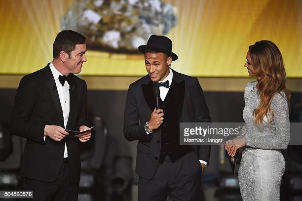 Neymar Jr of Brazil and FC Barcelona is interviewed by hosts James Nesbitt and Kate Adbo during the FIFA Ballon d'Or Gala 2015 at the Kongresshaus on...