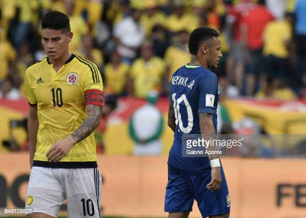 Neymar Jr of Brazil and James Rodriguez of Colobia leave the field after a match between Colombia and Brazil as part of FIFA 2018 World Cup...