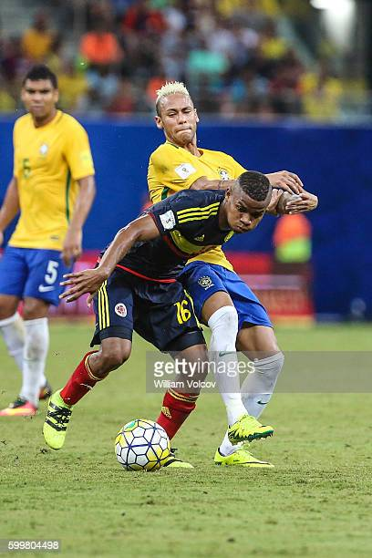Neymar Jr of Brazil and Wílmar Barrios of Colombia fight for the ball during a match between Brazil and Colombia as part of FIFA 2018 World Cup...