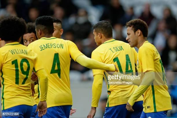 Neymar Jr of Brazil celebrate 01 with Jemerson of Brazil Willian of Brazil Thiago Silva of Brazil during the International Friendly match between...
