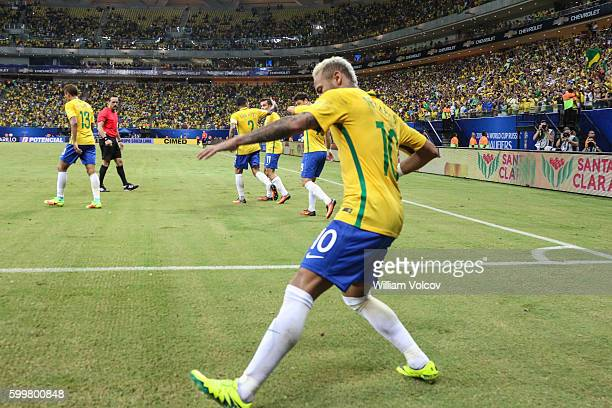 Neymar Jr of Brazil celebrates after scoring the second goal of his team during a match between Brazil and Colombia as part of FIFA 2018 World Cup...