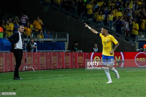 Neymar Jr of Brazil celebrates after scoring the second goal of his team during a match between Argentina and Brazil as part of FIFA 2018 World Cup...