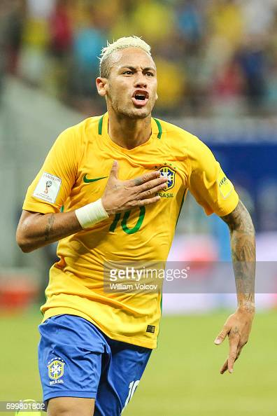 Neymar Jr of Brazil celebrates after soring the second goal of his team during a match between Brazil and Colombia as part of FIFA 2018 World Cup...