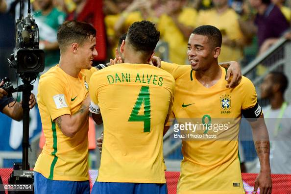 Neymar Jr of Brazil celebrates with teammates after scoring the secong goal of his team during a match between Argentina and Brazil as part of FIFA...