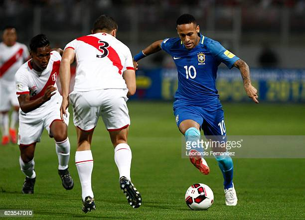 Neymar Jr of Brazil drives the ball during a match between Peru and Brazil as part of FIFA 2018 World Cup Qualifiers at Nacional Stadium on November...