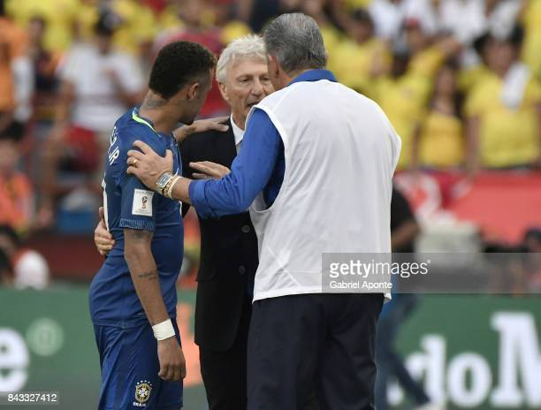 Neymar Jr of Brazil Jose Pekerman coach of Colombia and Tite coach of Brazil talk after a match between Colombia and Brazil as part of FIFA 2018...