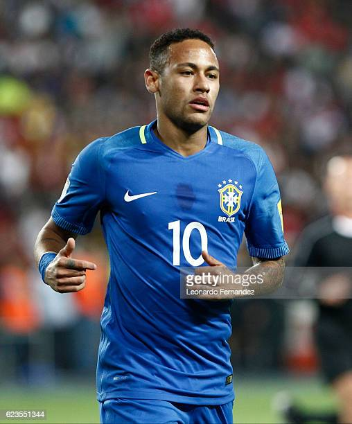 Neymar Jr of Brazil looks on during a match between Peru and Brazil as part of FIFA 2018 World Cup Qualifiers at Nacional Stadium on November 15 2016...