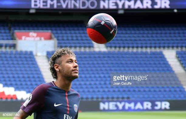 Neymar Jr of Brazil press conference and jersey presentation following his signing as new player of Paris SaintGermain at Parc des Princes on August...