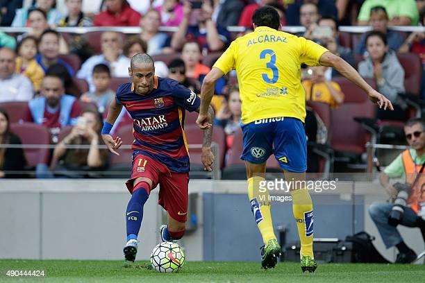 Neymar Jr of FC Barcelona Alcaraz of Las Palmas during the Primera Division match between FC Barcelona and Las Palmas on September 26 2015 at Camp...