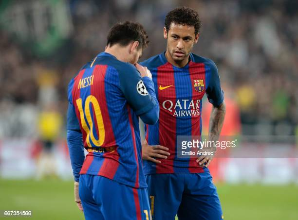 Neymar Jr of FC Barcelona and his teammate Lionel Messi show their dejection during the UEFA Champions League Quarter Final first leg match between...