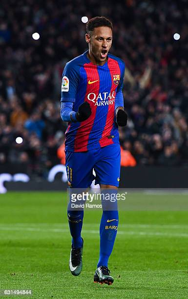 Neymar Jr of FC Barcelona celebrates after scoring his team's second goal from the penalty spot during the Copa del Rey round of 16 second leg match...