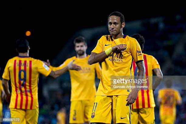 Neymar JR of FC Barcelona celebrates scoring their second goal during the La Liga match between Getafe CF and FC Barcelona at Coliseum Alfonso Perez...