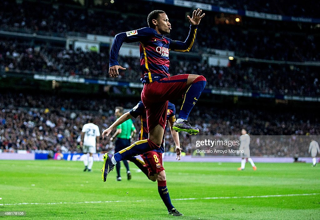 Neymar JR. of FC Barcelona celebrates scoring their second goal during the La Liga match between Real Madrid CF and FC Barcelona at Estadio Santiago Bernabeu on November 21, 2015 in Madrid, Spain.